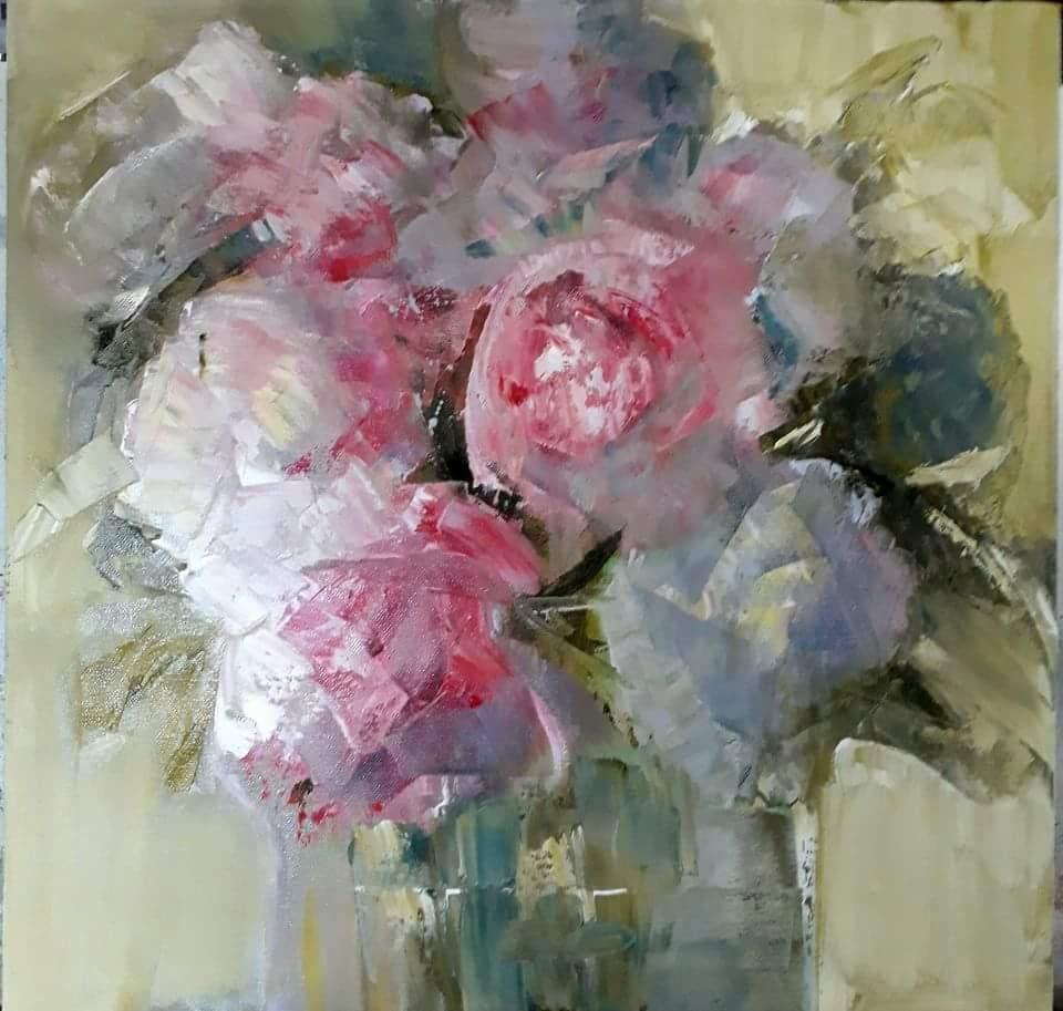 """Make believe flowers"" original fine art by Rentia Coetzee"