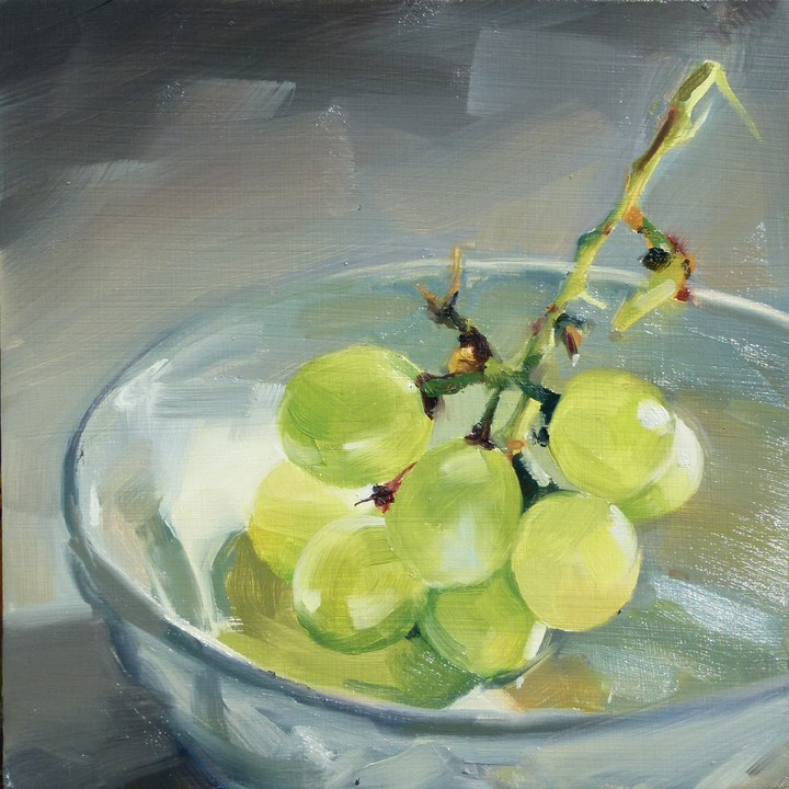 """Green Grapes"" original fine art by Deb Anderson"