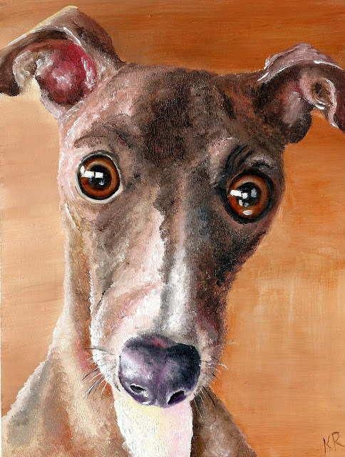 """Greyhound 2 - Santa's Little Helper"" original fine art by Karen Robinson"