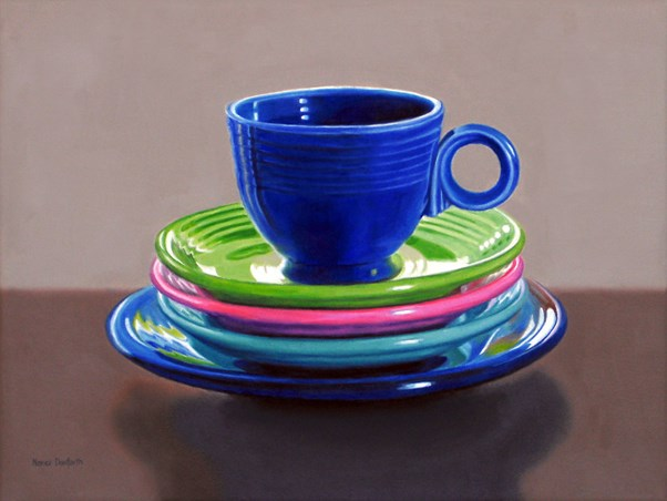 """Fiesta Cup With Plates"" original fine art by Nance Danforth"