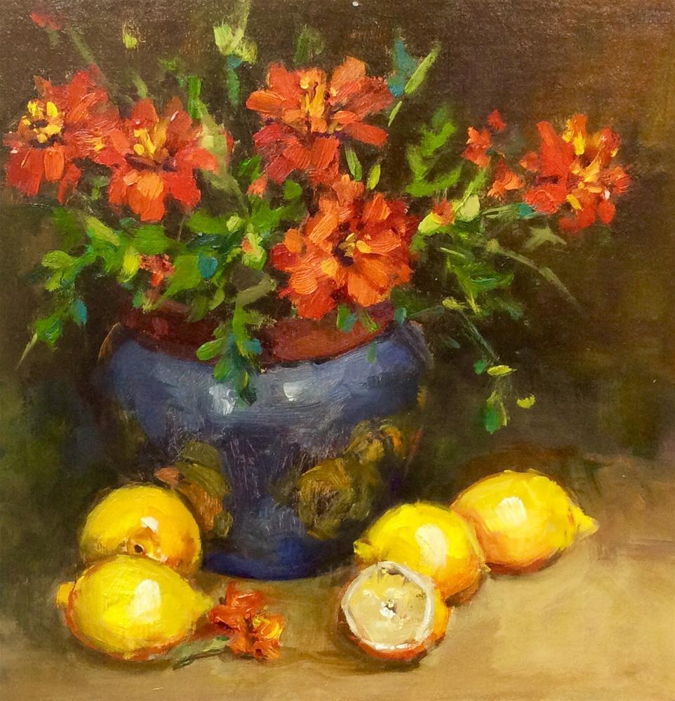 """Marigolds and Lemons,"" original fine art by Laurie Johnson Lepkowska"