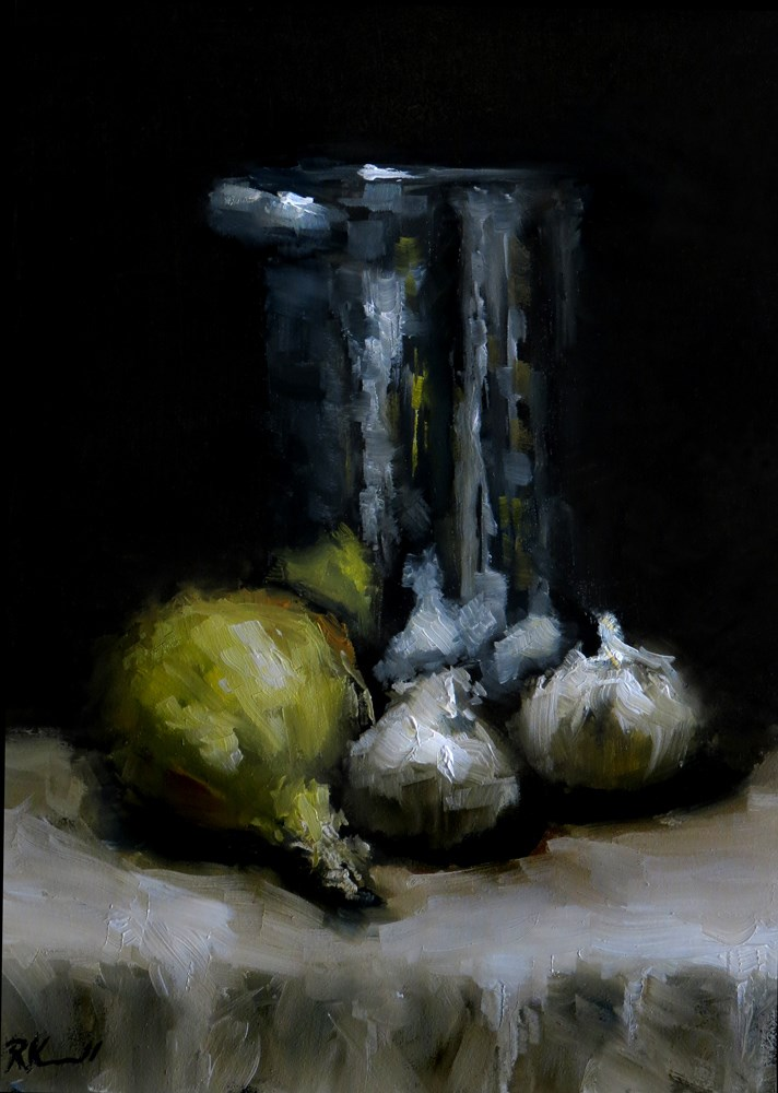 """Garlic, Onion and a Tall Pot"" original fine art by Bob Kimball"