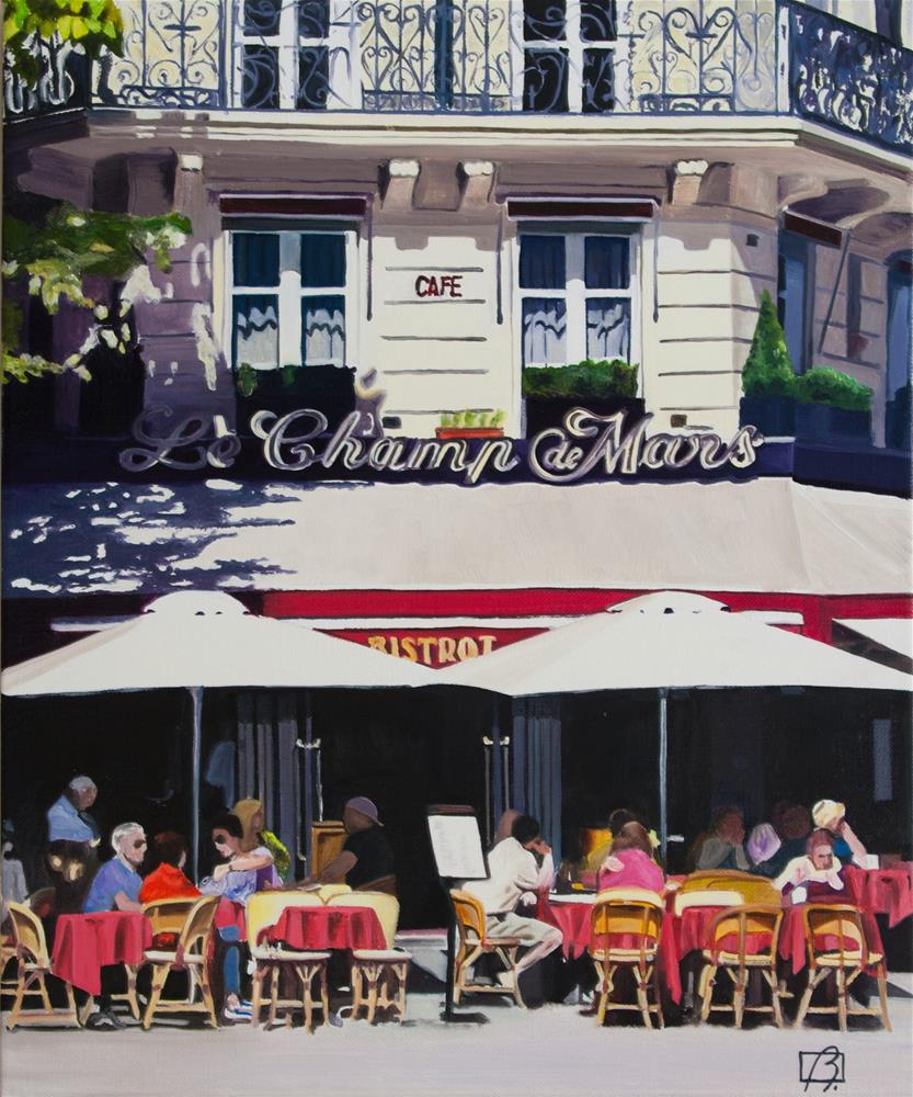 """Cafe Champ de Mars"" original fine art by Andre Beaulieu"