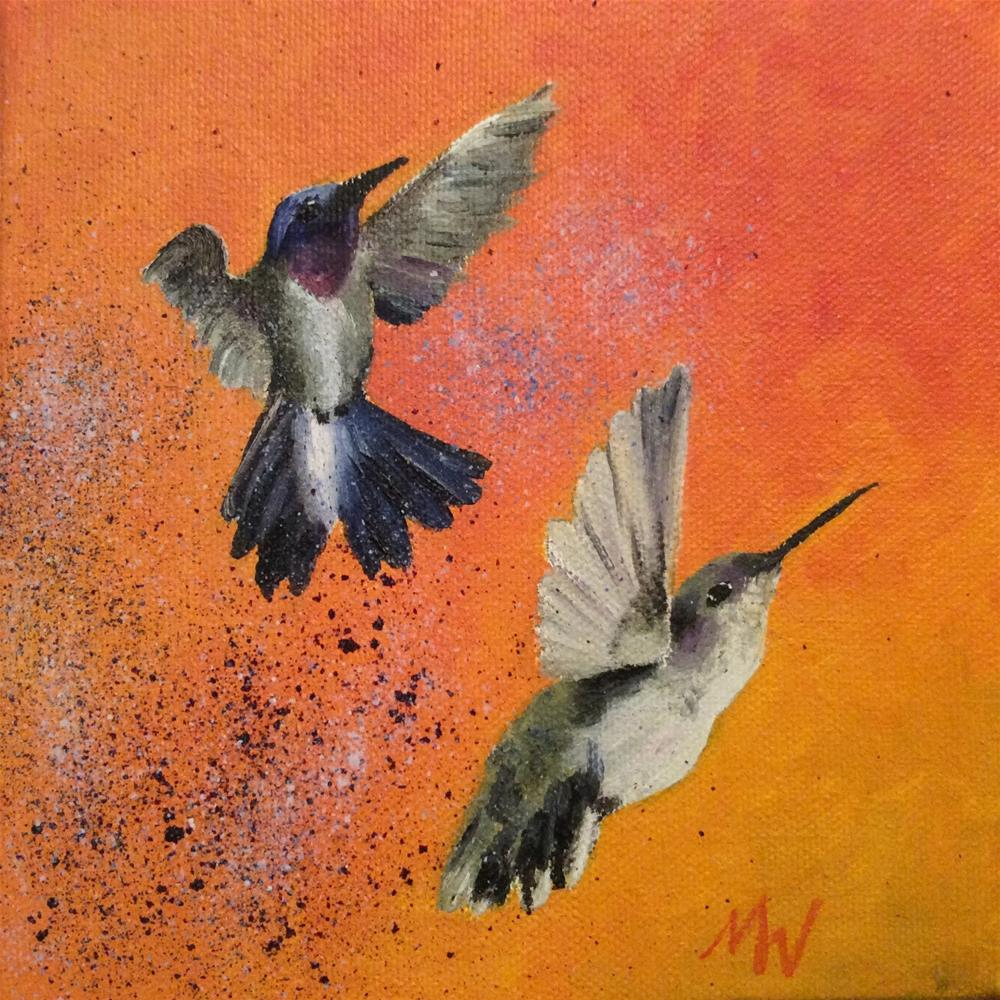 """""""Black-Chinned Hummer Couple"""" original fine art by Michelle Wolfe"""
