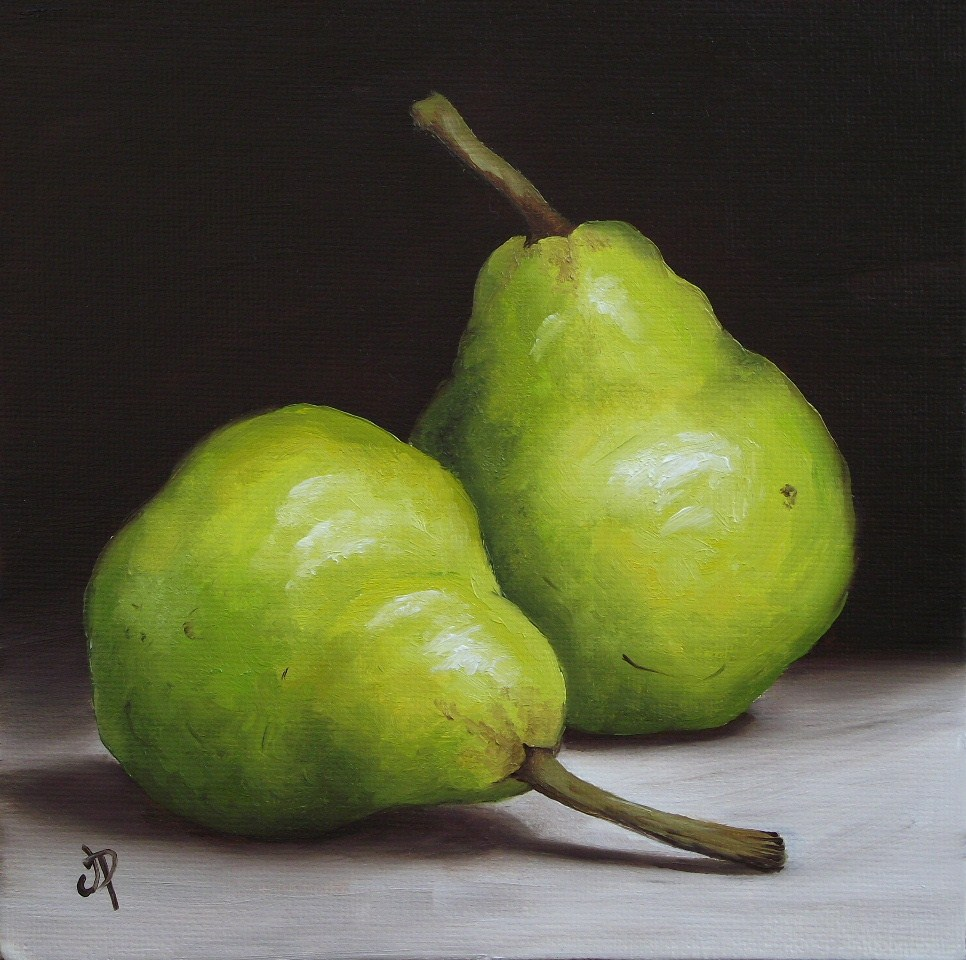 """Pair of Pears & Little Watermelon"" original fine art by Jane Palmer"