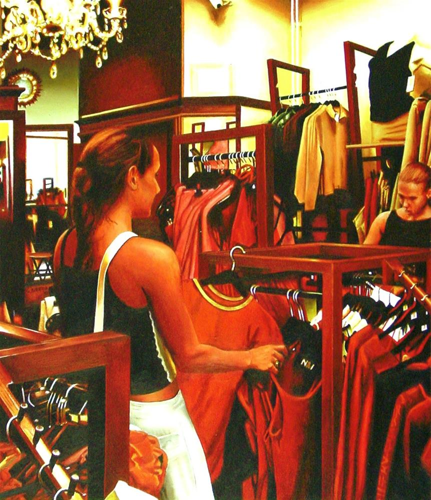 """Outfit- Painting Of Two Women In Clothing Store"" original fine art by Gerard Boersma"