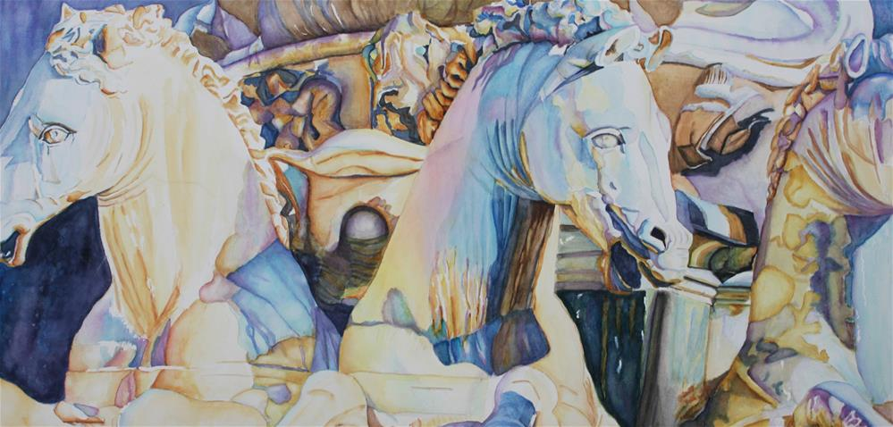 """Neptune's Sea Horses- Florence, Italy"" original fine art by Christiane Kingsley"