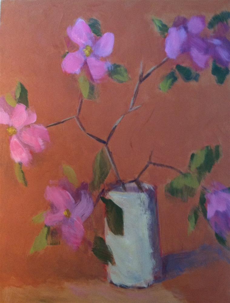 """Pink Dogwood Branch"" original fine art by Katharine March"
