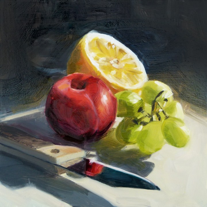 """Fruit with Knife"" original fine art by Deb Anderson"
