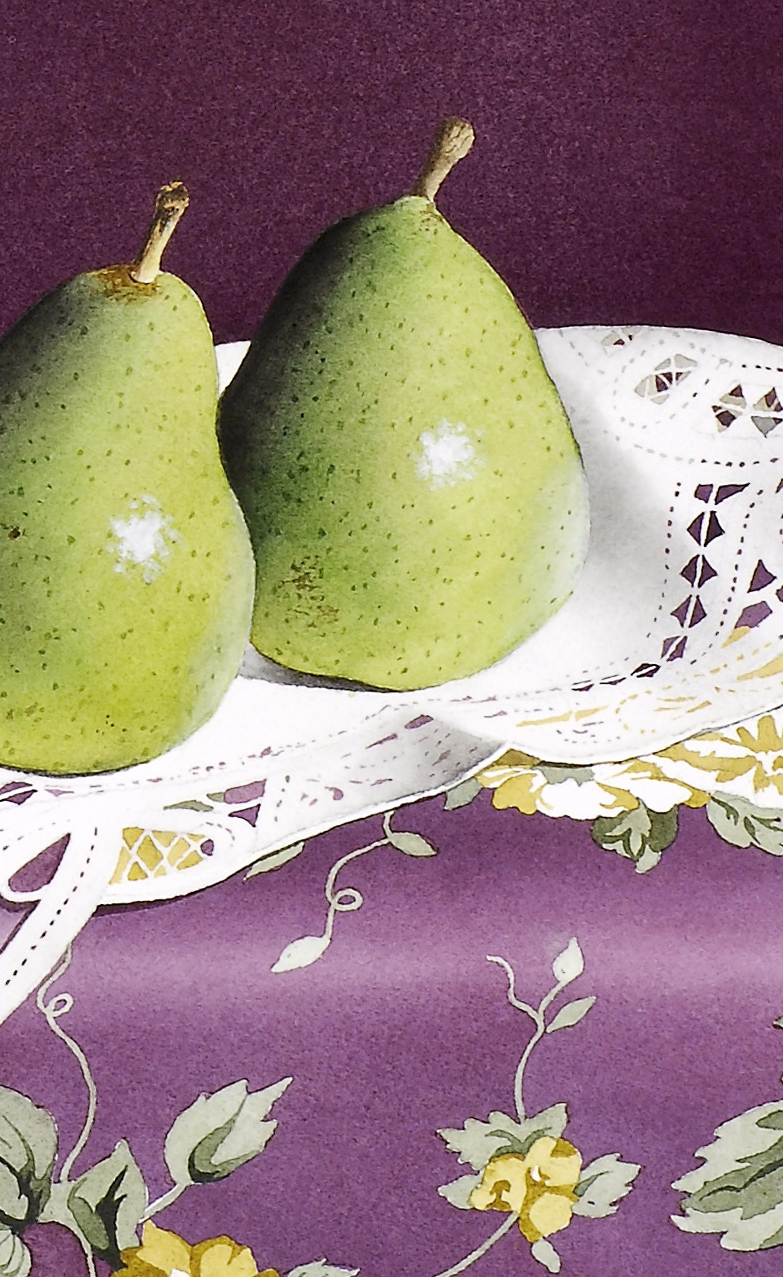 """Pears and Lace"" original fine art by Jacqueline Gnott, whs"