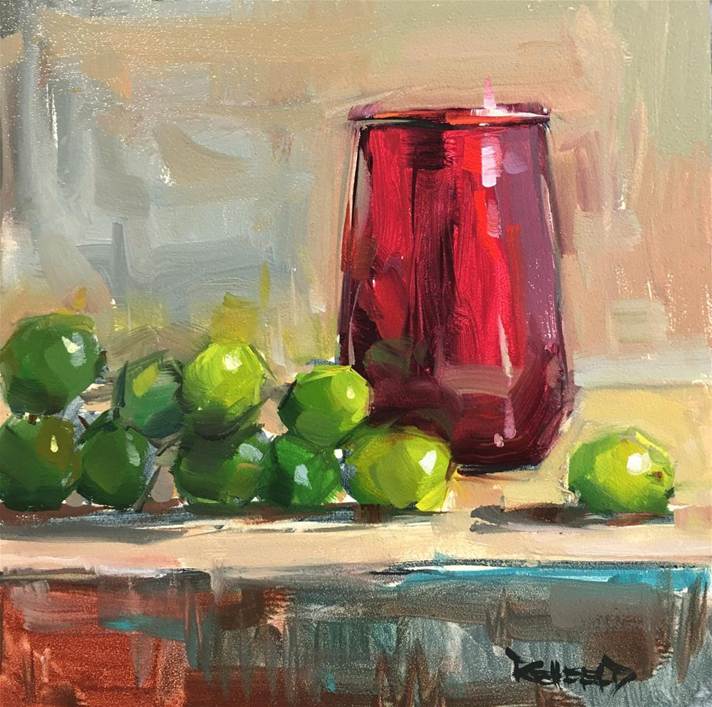 """Red Glass and Green Grapes"" original fine art by Cathleen Rehfeld"