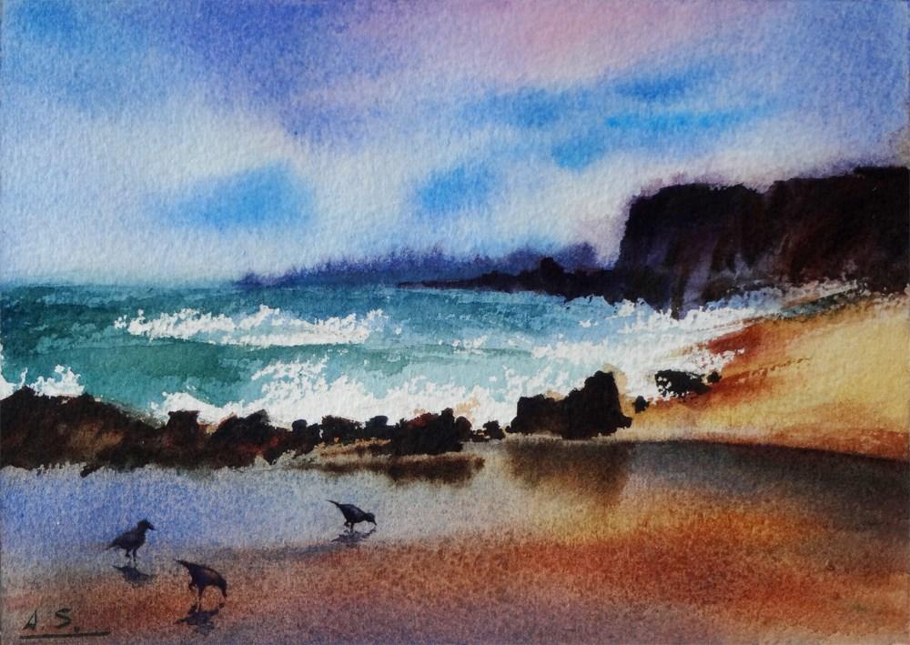 """Beachcombers at Linda Mar, Pacifica"" original fine art by Arena Shawn"