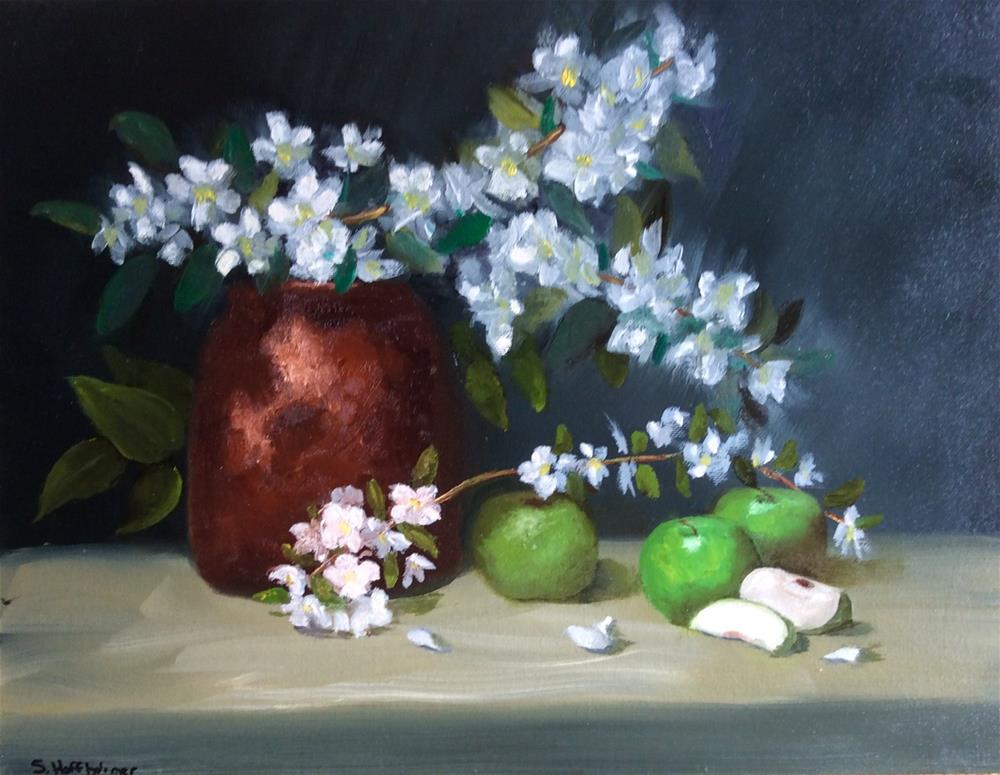 """""""Green Apples"""" original fine art by Susan Hoffheimer"""