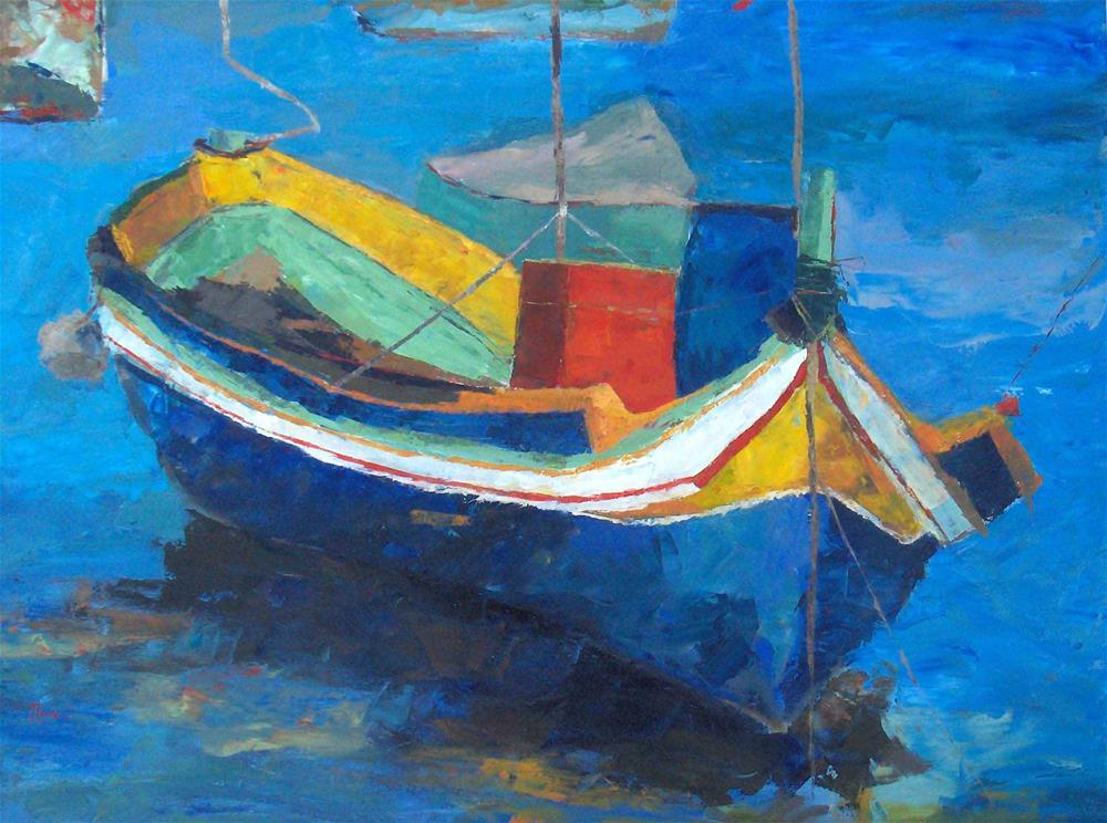 """Blue Fishing Boat"" original fine art by Nava Judith"