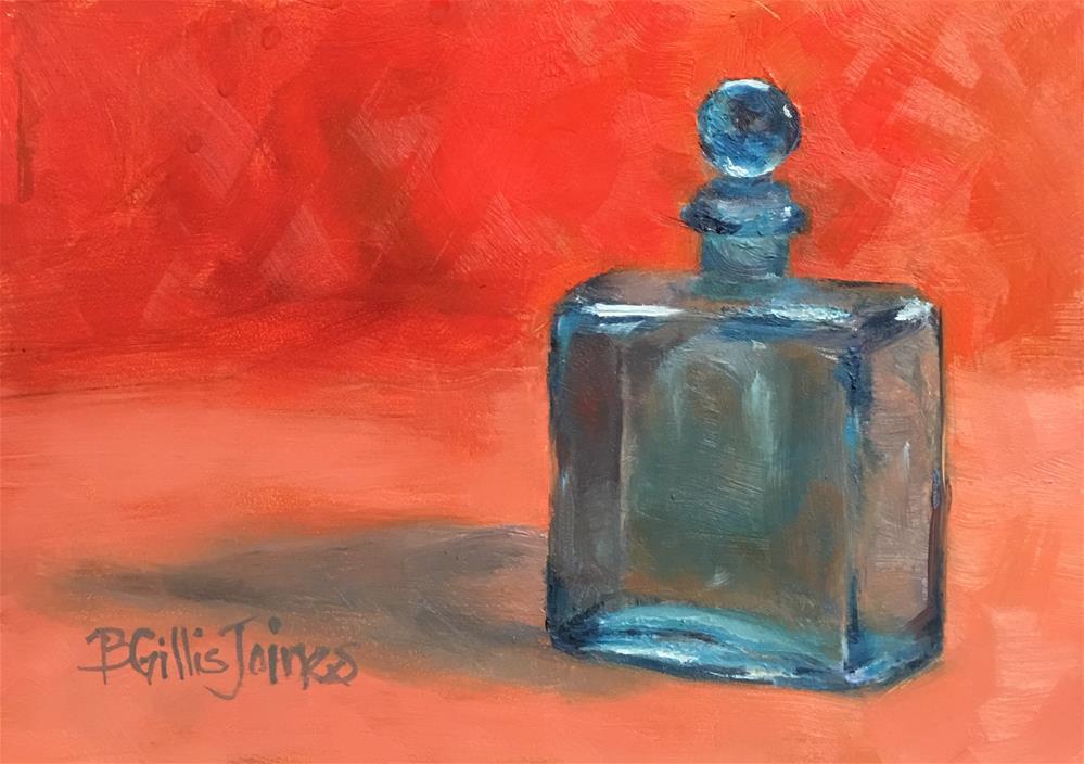 """Blue Bottle in Orange"" original fine art by Barbara Gillis Joines"