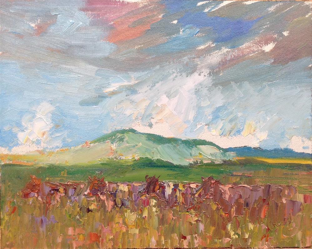 """""""Cows in a landscape"""" original fine art by Joseph  Mahon"""