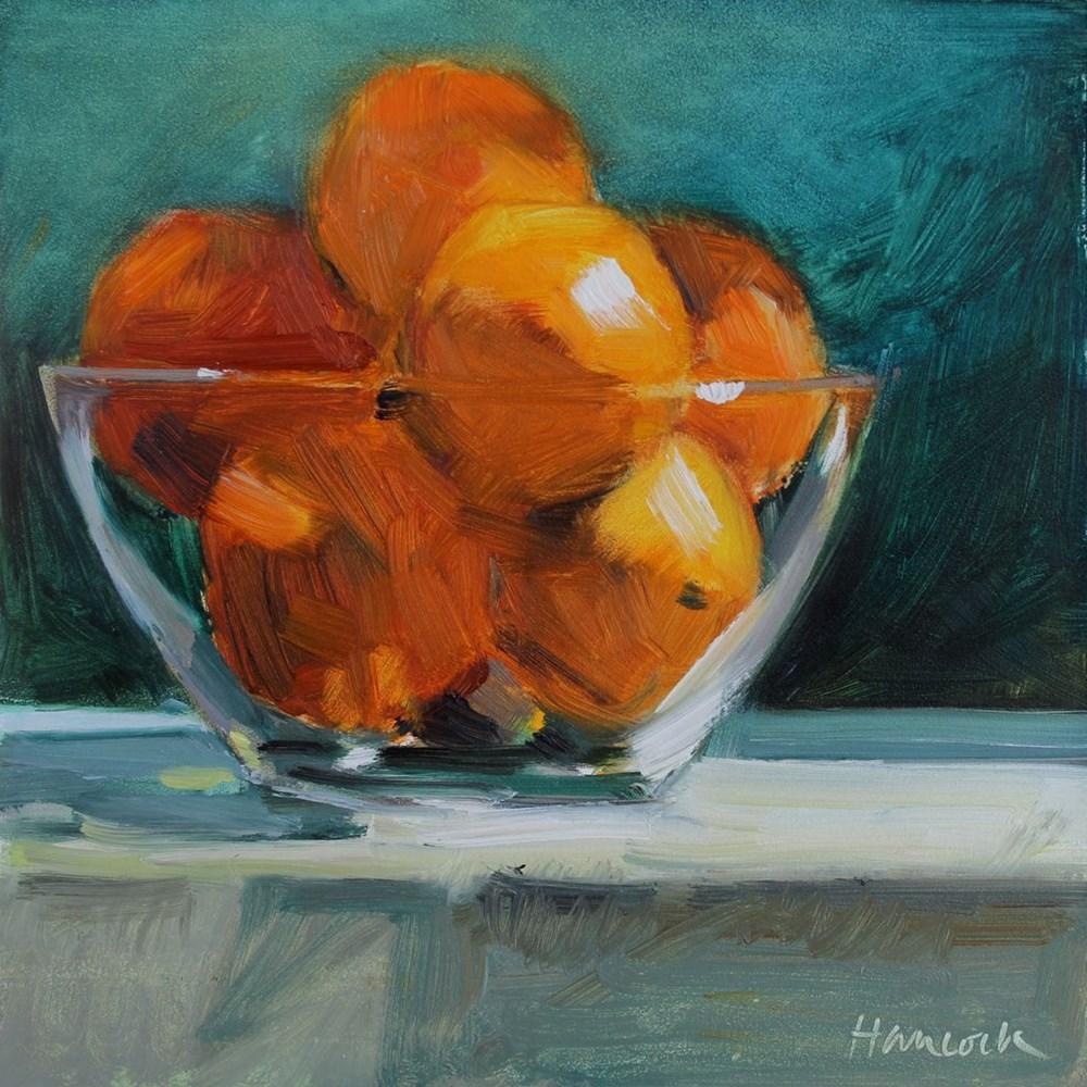 """Oranges in a Glass Bowl"" original fine art by Gretchen Hancock"