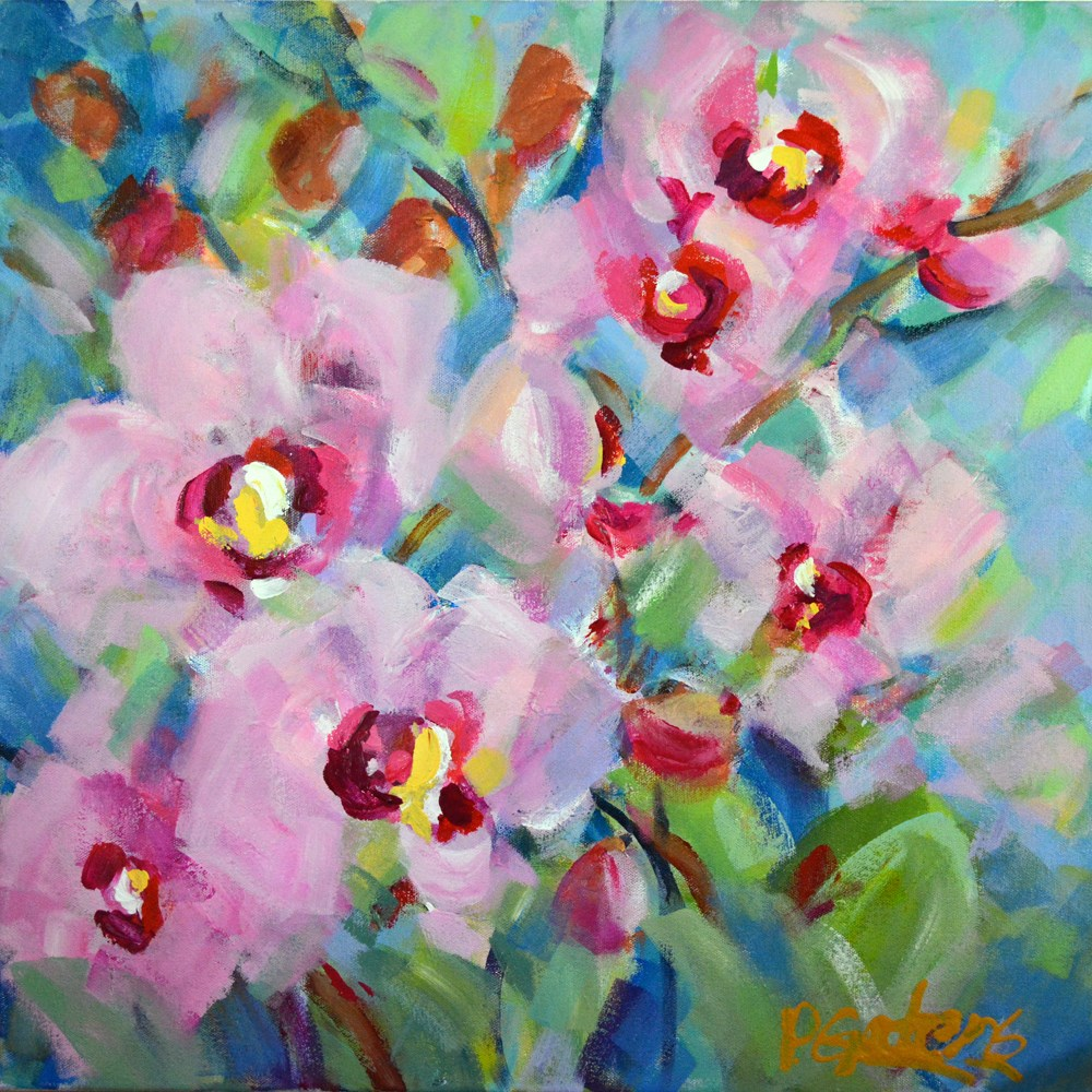 """Cotton Candy Orchids"" original fine art by Pamela Gatens"