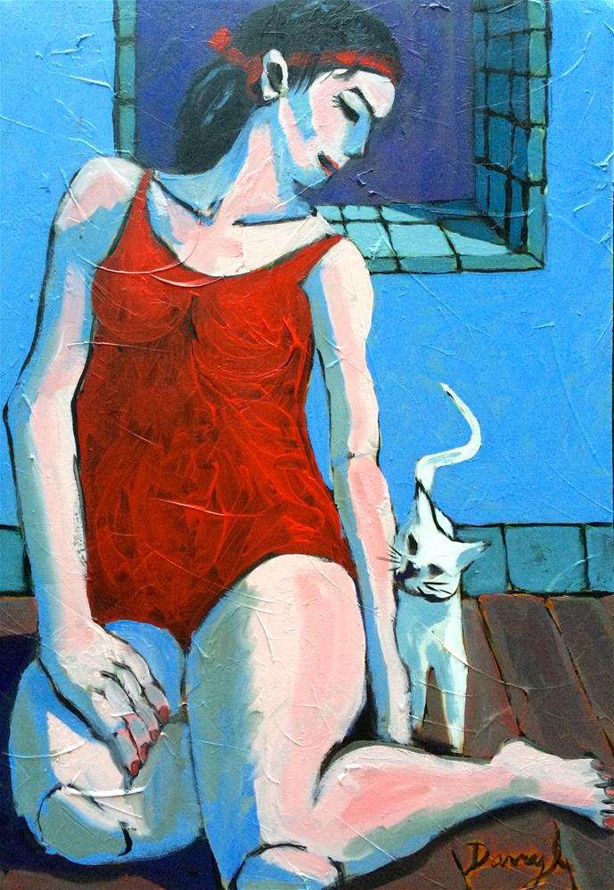 """Woman with a White Cat"" original fine art by Darryl Freeman"