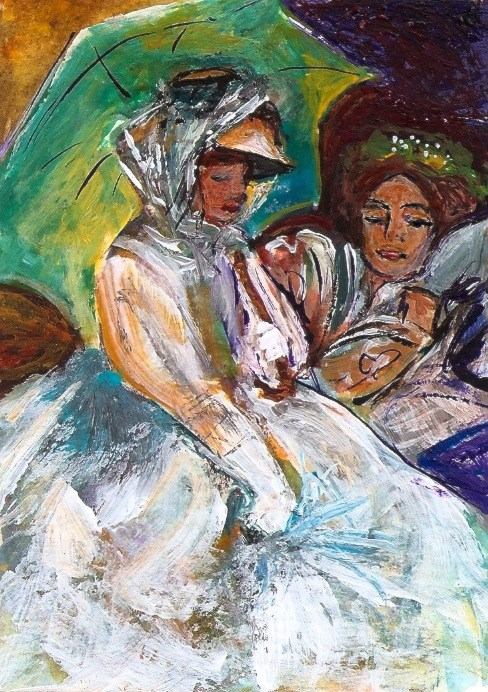 """ACEO Two Women Umbrellas in the Style of John Singer Sargent Penny StewArt"" original fine art by Penny Lee StewArt"