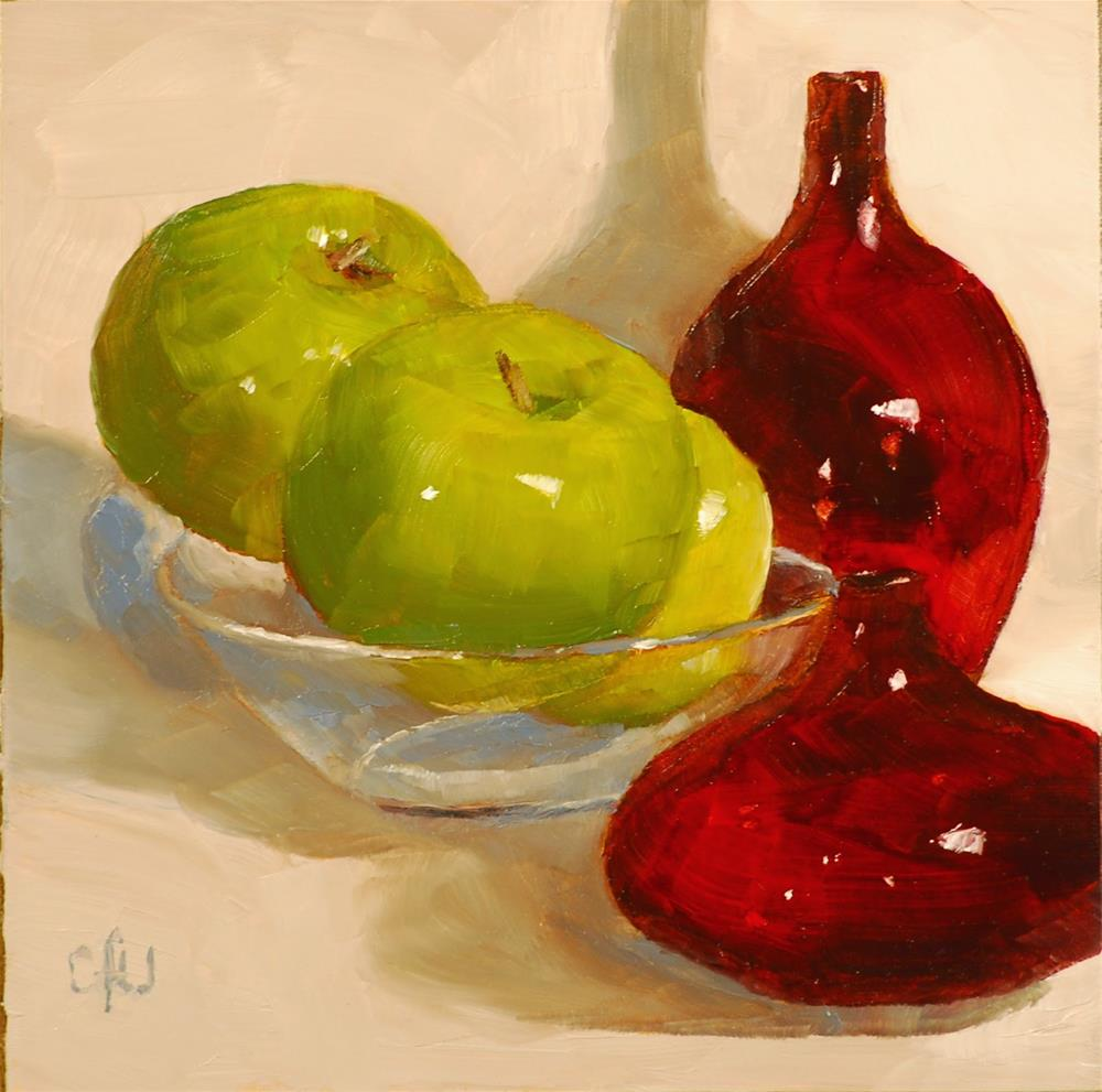 """Red Vases and Apples"" original fine art by Gary Westlake"