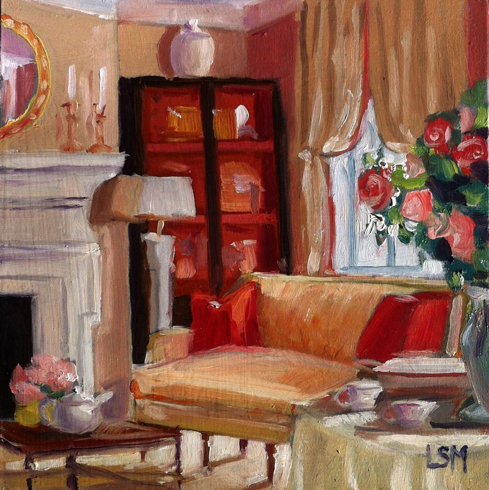 """Rose Quartz Living Room"" original fine art by Linda Marino"