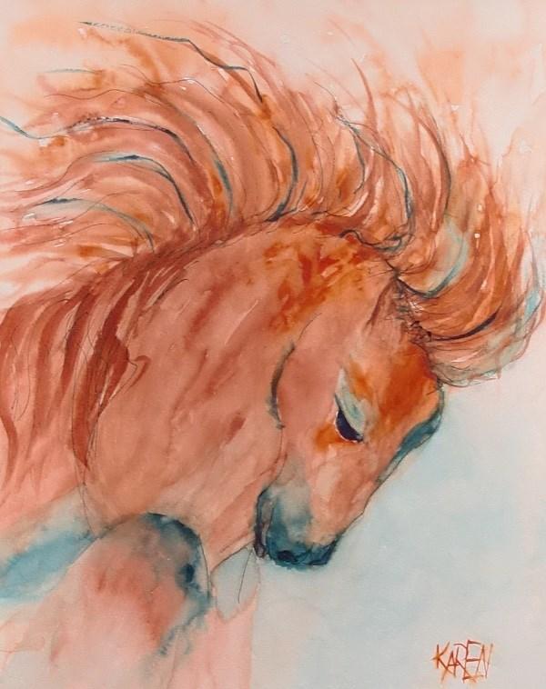 """Little Red"" original fine art by karen richardson"