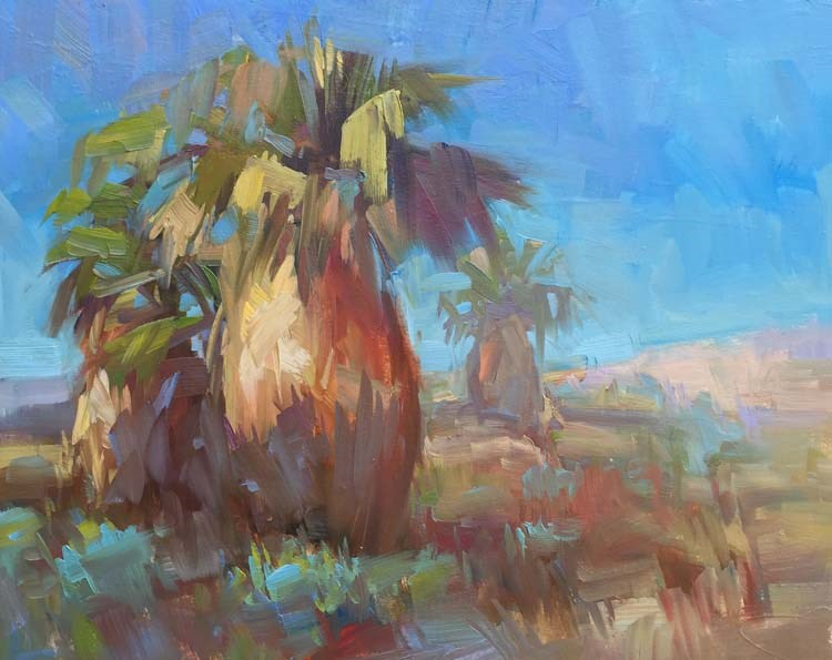 """Hula Palm Trees"" original fine art by Patti McNutt"