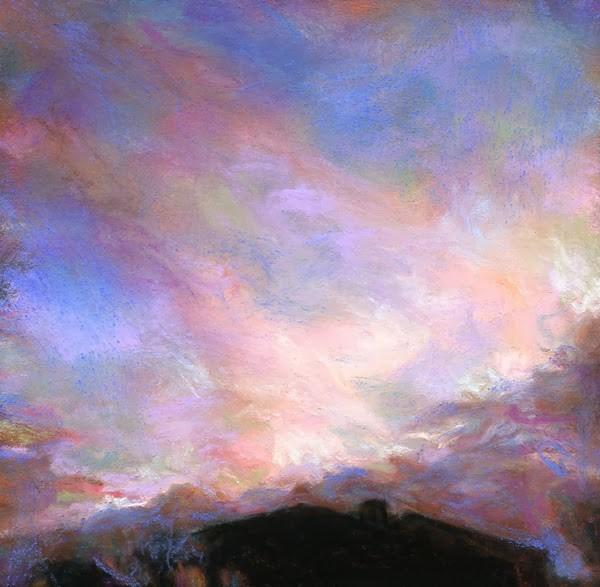 """SUNSET BEYOND THE HOUSE - 4 1/2 x 4 1/2 sunset pastel by Susan Roden"" original fine art by Susan Roden"