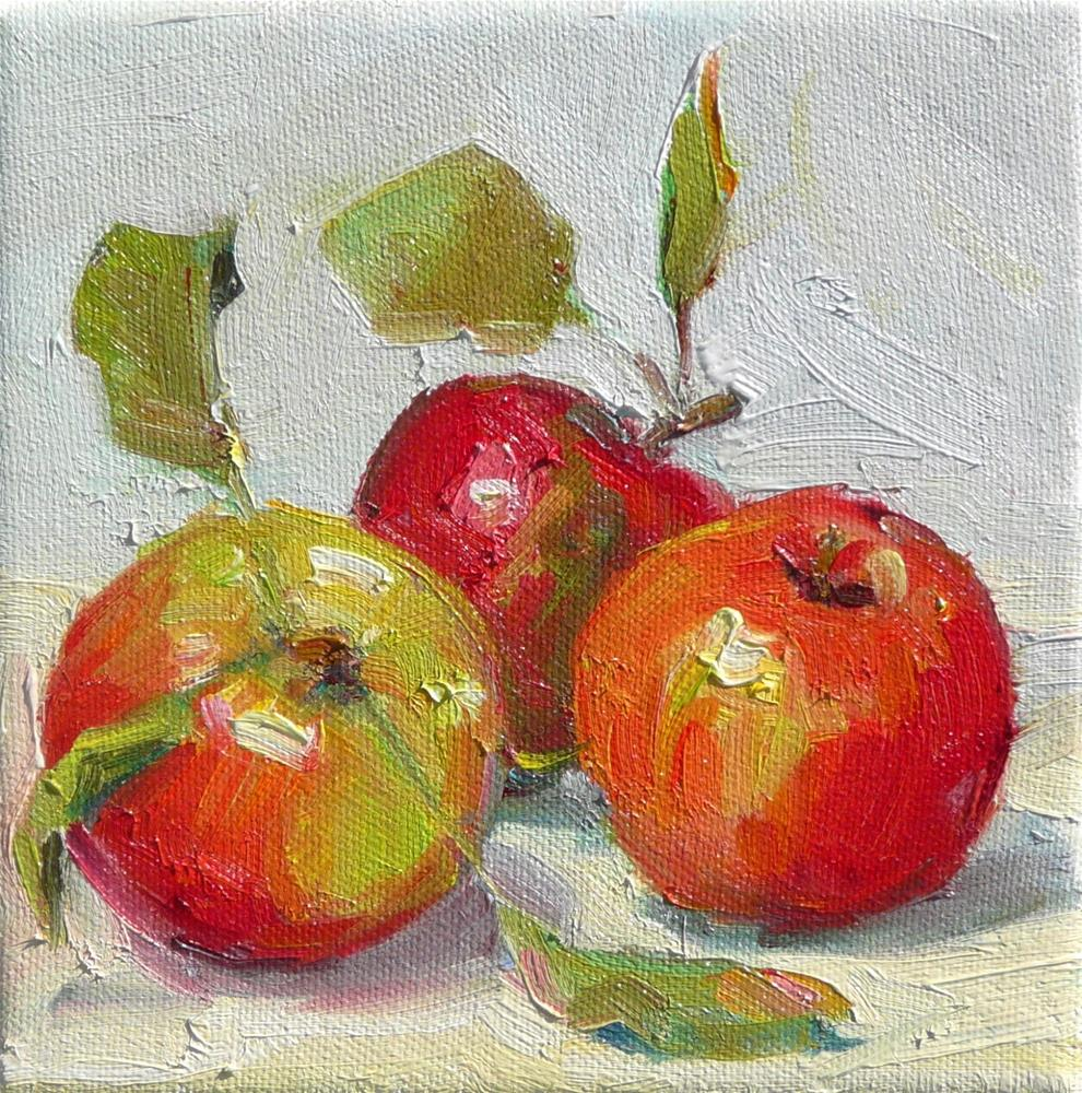 """More Apples,still life,oil on canvas,6x6,priceNFS"" original fine art by Joy Olney"