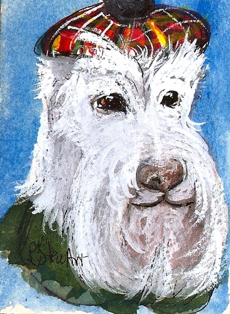 """ACEO - Scottish Terrier Scottie White Dog wearing a Tartan Plaid Tam O'Shanter Cap"" original fine art by Penny Lee StewArt"