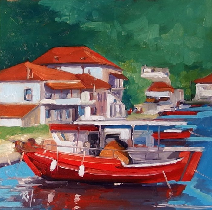 """No 731 Greek Sea Village"" original fine art by Robin J Mitchell"
