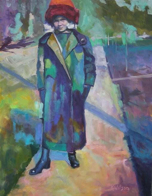 """""""Orange Hat Purple Coat"""" original fine art by Katie Wilson"""