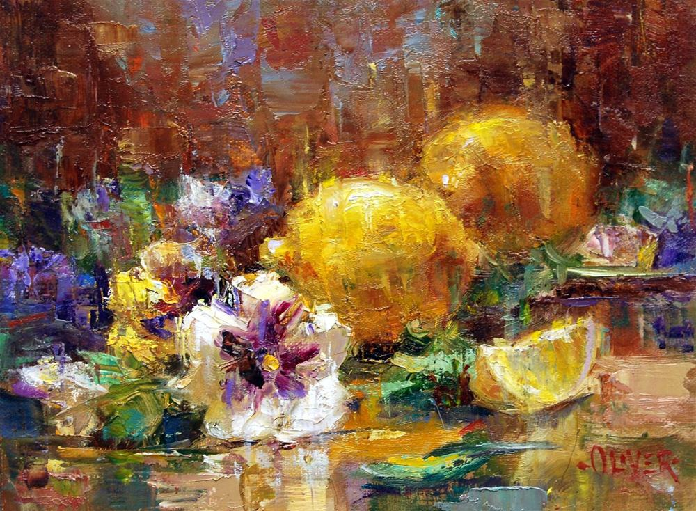 """Pansies and Lemons"" original fine art by Julie Ford Oliver"