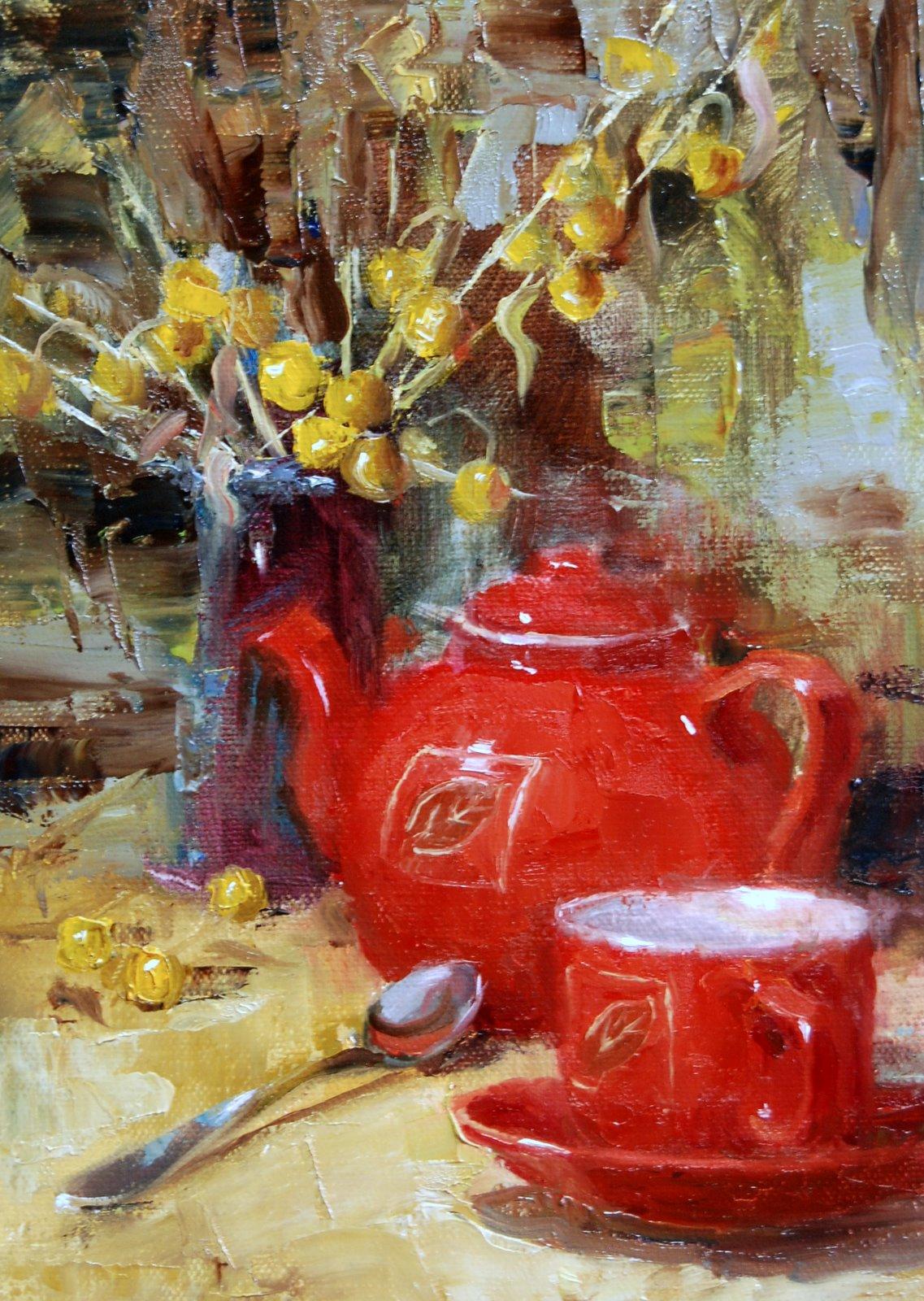 """""""Time for Tea"""" original fine art by Julie Ford Oliver"""