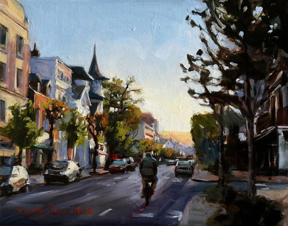 """Morning Bike Ride in Deauville"" original fine art by Jonelle Summerfield"