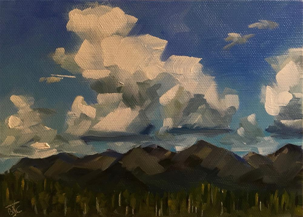 """Cumulus Clouds Over The Chugach Range"" original fine art by Bobbie Cook"