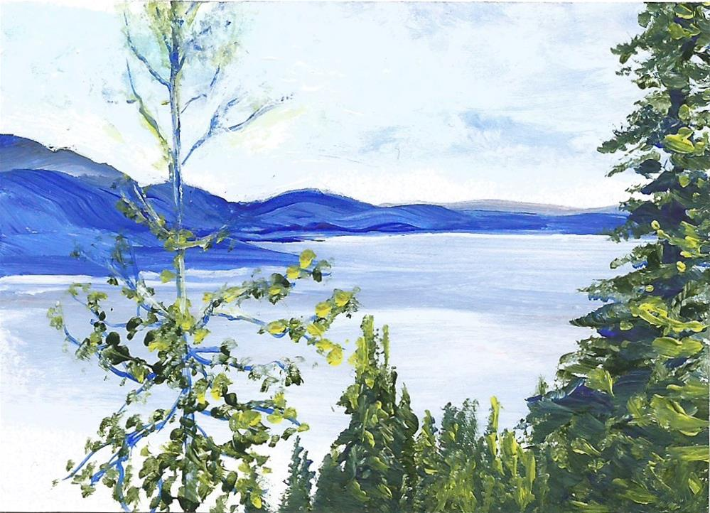 """6090 - OKANAGAN VIEWPOINT ACEO with frame"" original fine art by Sea Dean"