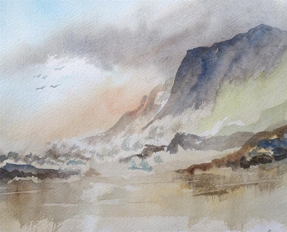 """Breakers at Three Cliffs - Gower"" original fine art by Peter Wellington"