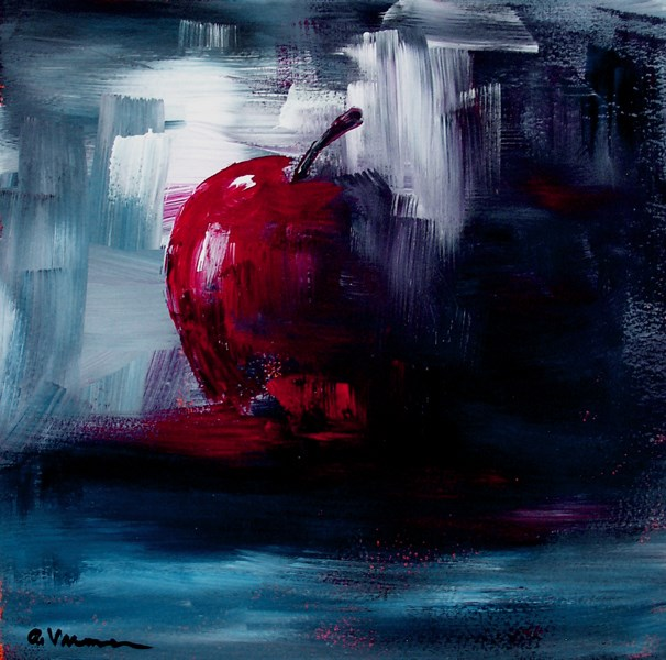"""Apple - Red, White, and Blue"" original fine art by Anna Vreman"