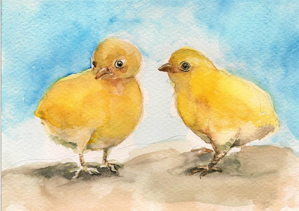 """The Chick friends"" original fine art by Asha Shenoy S"