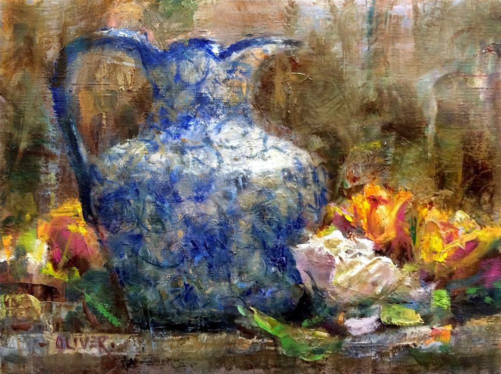 """Creamer and Roses plus a visit with Qiang Huang."" original fine art by Julie Ford Oliver"