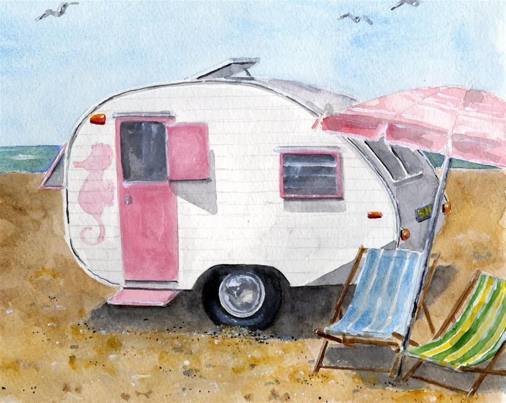 """California Dreamin' - Vintage Camper at Beach"" original fine art by Sheryl Heatherly Hawkins"