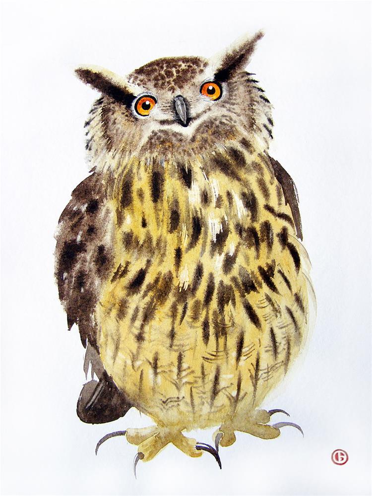 """Funny Eagle Owl - Original Watercolor - Wildlife Art - Owl Painting "" original fine art by Olga Beliaeva"
