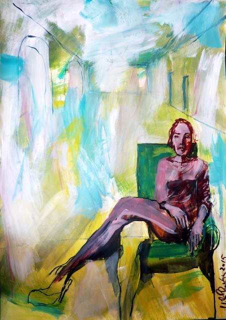 """Frau im Grünem / woman in green"" original fine art by Mila Plaickner"
