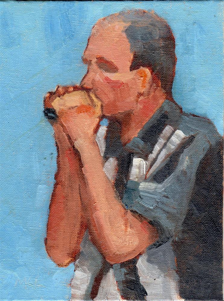 """Harmonica Player"" original fine art by Marlene Lee"