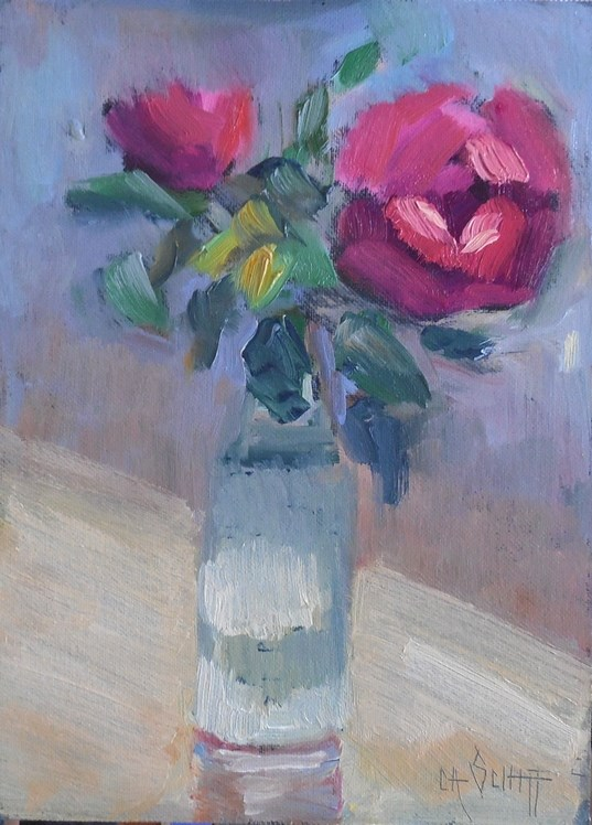 """Rose Painting, Small Oil Painting, Daily Painting, 6x8 Oil"" original fine art by Carol Schiff"