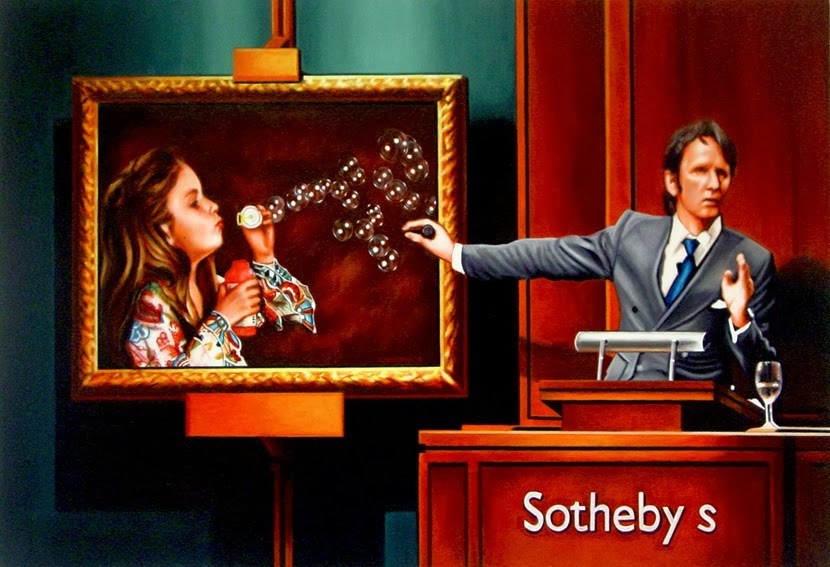 """Art Bubble- Painting Of Evening Auction At Sotheby's"" original fine art by Gerard Boersma"