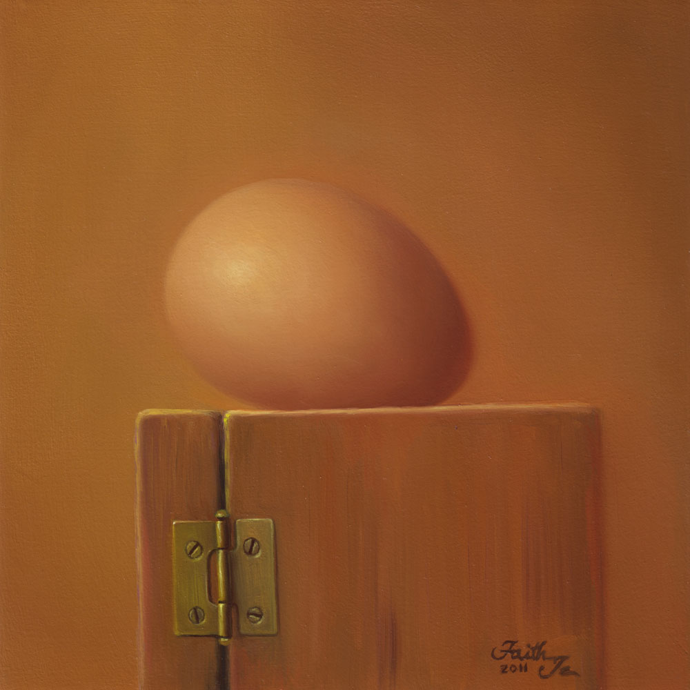 """Brown Egg on Wooden Box"" original fine art by Faith Te"