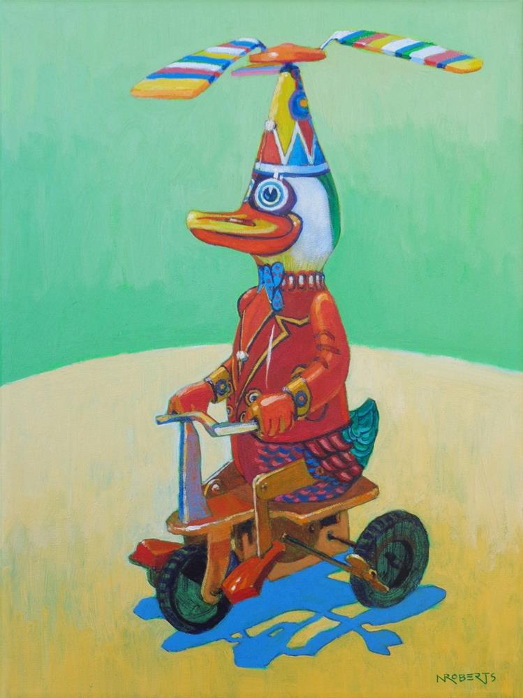 """Duck on a Bike"" original fine art by Nancy Roberts"